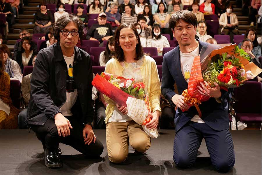 行定映画祭ディレクター、『岬の兄妹』のヒロイン和田光沙、片山慎三監督(左から)