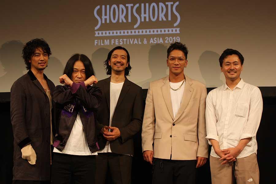 映画「MANRIKI」を制作した「チーム万力」(左から)斎藤工、永野、金子ノブアキ、SWAY、清水康彦氏