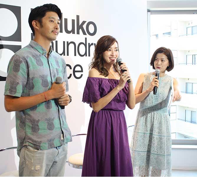 オープニングイベントに参加した(左から)柴田翔平、仁香、石井希和