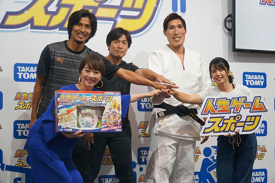 イベントに登場した(左から)中澤佑二、木佐彩子、大畑大介、篠原信一、泉ひかり