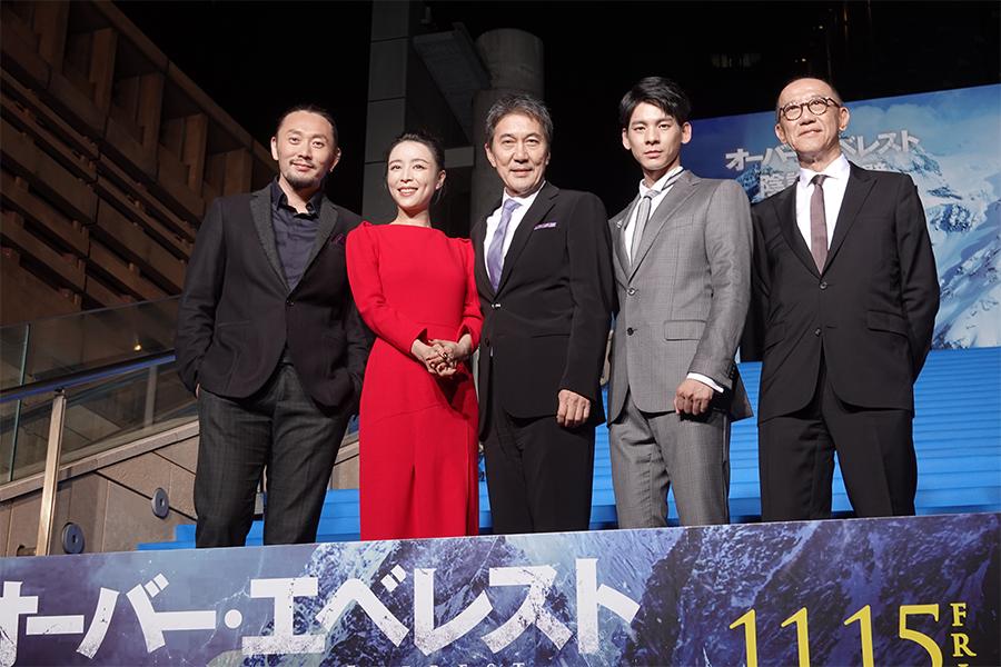 (左から)ユー・フェイ監督、チャン・ジンチュー、役所広司、リン・ボーホン、プロデューサーのテレンス・チャン氏
