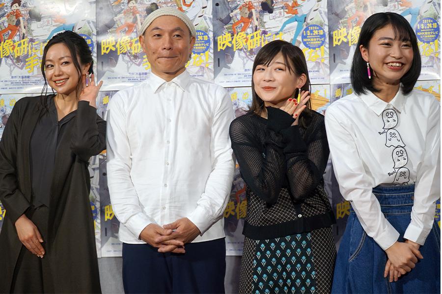 3人おそろい鉛筆イヤリングで一体感…伊藤沙莉らアニメ「映像研には手を出すな!」笑顔会見