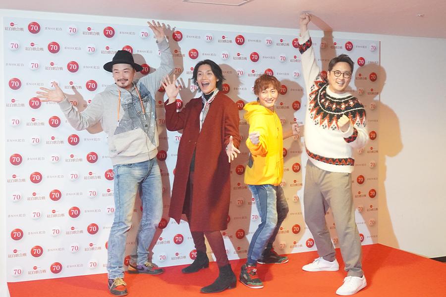 紅白歌合戦のリハーサルに臨んだ純烈(左から)小田井、白川、後上、酒井