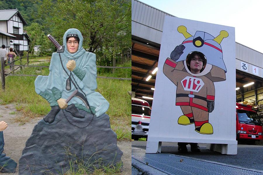 塩谷氏が「顔ハメ看板」に出会った頃の写真。(左から)日光江戸村(2005撮影)、府中消防署 消防士(2008撮影)