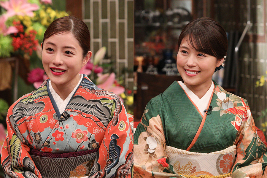「新春大売り出し!さんまのまんま」に出演する石原さとみ(左)と有村架純  (C)カンテレ
