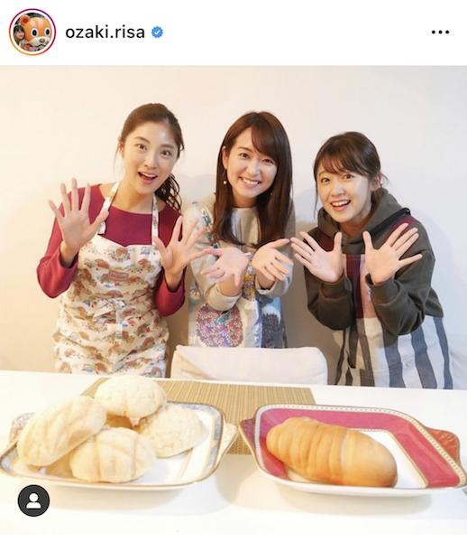 中島アナ(中)、岩本アナ(左)とパン教室に行った尾崎アナ インスタグラムより【写真:@ozaki.risa】