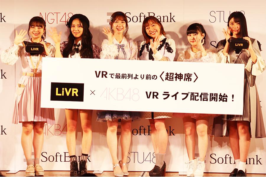 発表会に登壇した(左から)本間日陽、白間美瑠、柏木由紀、須田亜香里、田中美久、瀧野由美子