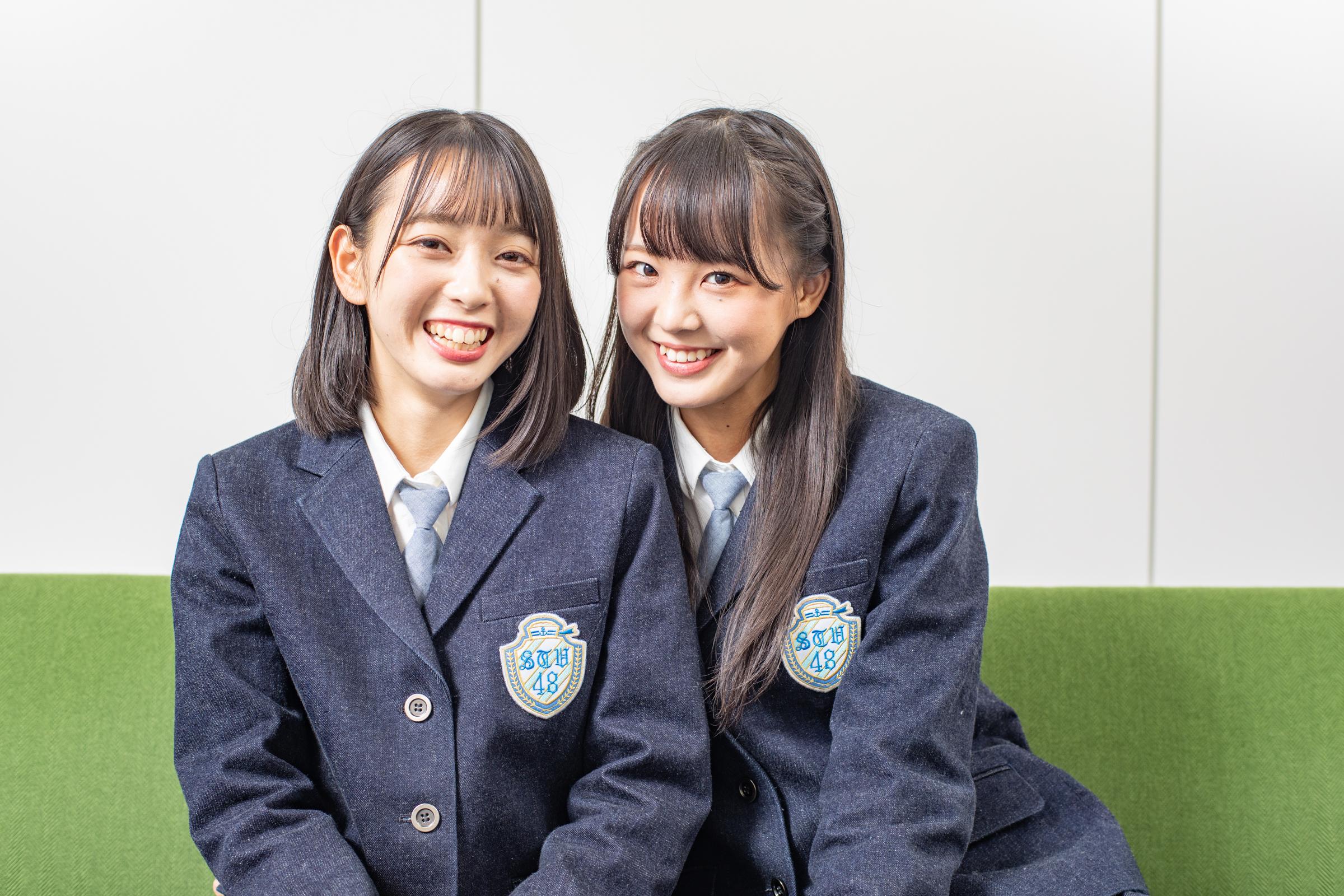 インタビューに応じた石田みなみ(左)と福田朱里【写真:山口正人】