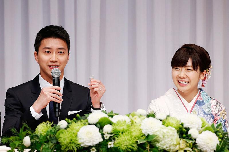 2016年に結婚した江宏傑・福原愛さん夫妻【写真:Getty Images】