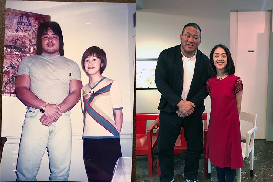 1997年5月の取材時(左)と2020年2月に中西選手と23年ぶりに撮影した筆者と中西選手【提供:三田佐代子】