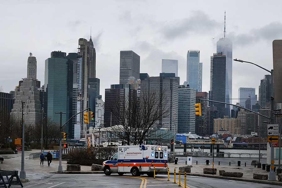 新型コロナウイルスの影響で静まり返るニューヨーク【写真:Getty Images】