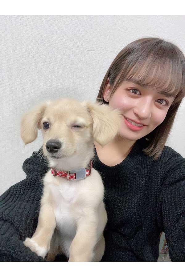 愛犬「まる。」ちゃんとの仲良しツーショット【写真:本人ツイッター(@aiko_yamaide)より、(C)Amuse】