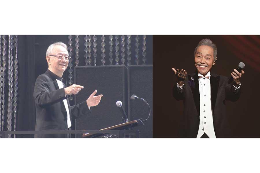「音楽の日」映画監督として指揮を振る服部克久さん(左)と、今回「昴―すばる―」を歌唱する谷村新司【写真:(C)TBS】