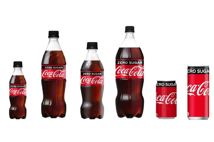 リニューアルされた「コカ・コーラ ゼロ」の主要パッケージ