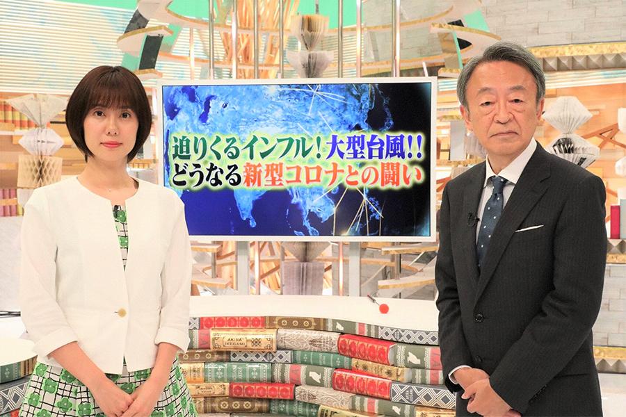 「池上彰スペシャル」司会の池上彰(右)と左から)山崎夕貴アナウンサー【写真:(C)フジテレビ】