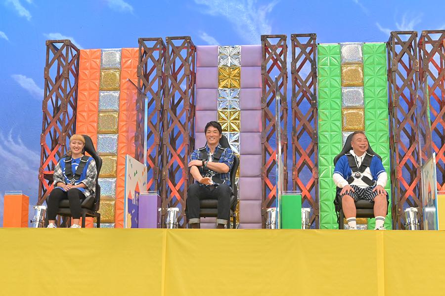 「キズナデビルの挑戦状」に出演する(左から)丸山桂里奈、長嶋一茂、出川哲朗【写真:(C)テレビ朝日】