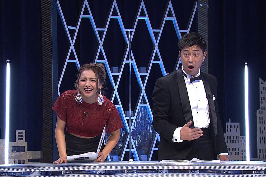 「BUY or BYE」に出演する(左から)ゆきぽよ、パンサー尾形貴弘【写真:(C)フジテレビ】