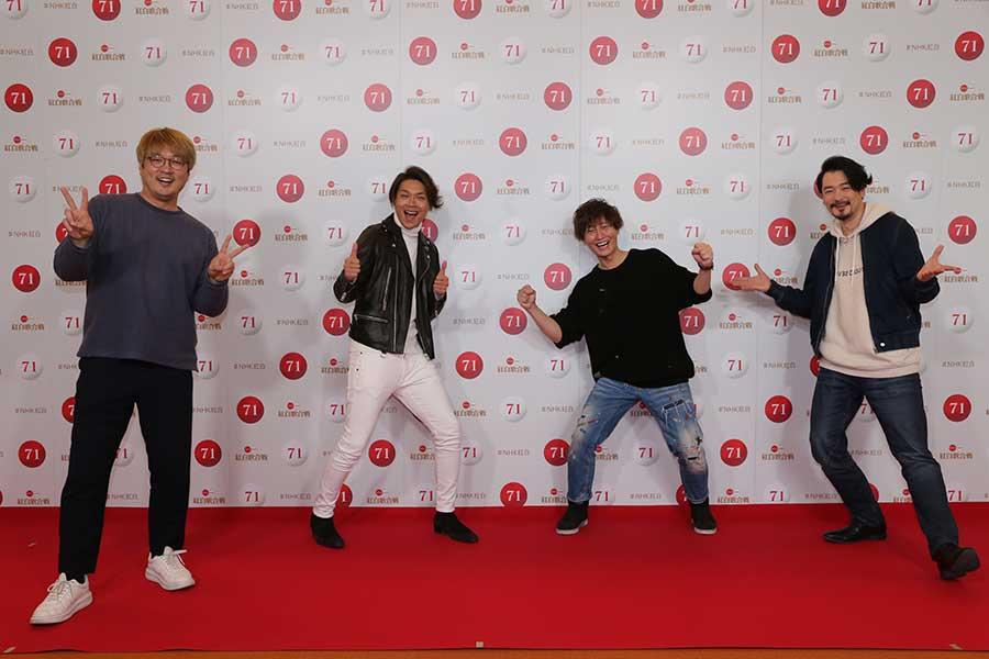 紅白のリハーサルを行った純烈の左から酒井一圭、白川裕二郎、後上翔太、小田井涼平