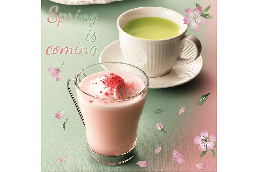 「桜クランチラテ」(手前)と「香る宇治抹茶ラテ」(奥)※写真はイメージ