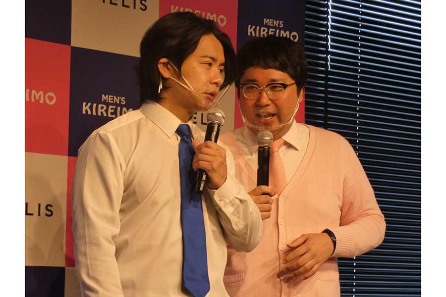 入社式にスペシャルゲストとして出席しトークを展開したマヂカルラブリーの野田クリスタル(左)と村上【写真:ENCOUNT編集部】