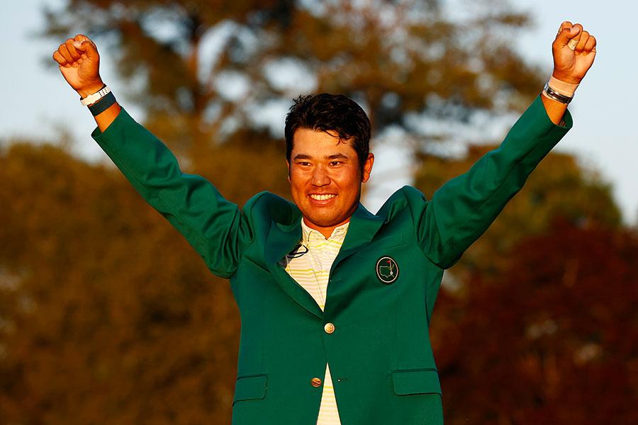 アメリカ男子ゴルフツアー・マスターズで初優勝した松山英樹【写真:Getty Images】