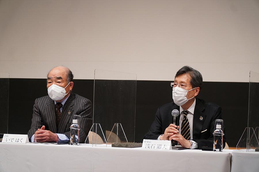 会見を行った日本音楽著作権協会の(左から)いではく会長、浅石道夫理事長【写真:ENCOUNT編集部】