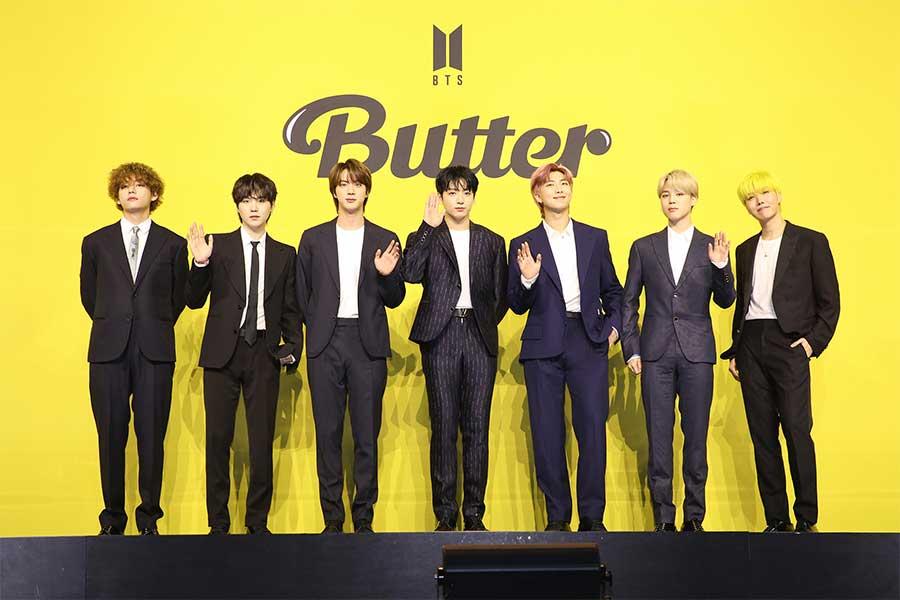 新曲「Butter」の発売会見を行ったBTS【写真:(C)BIGHIT MUSIC】