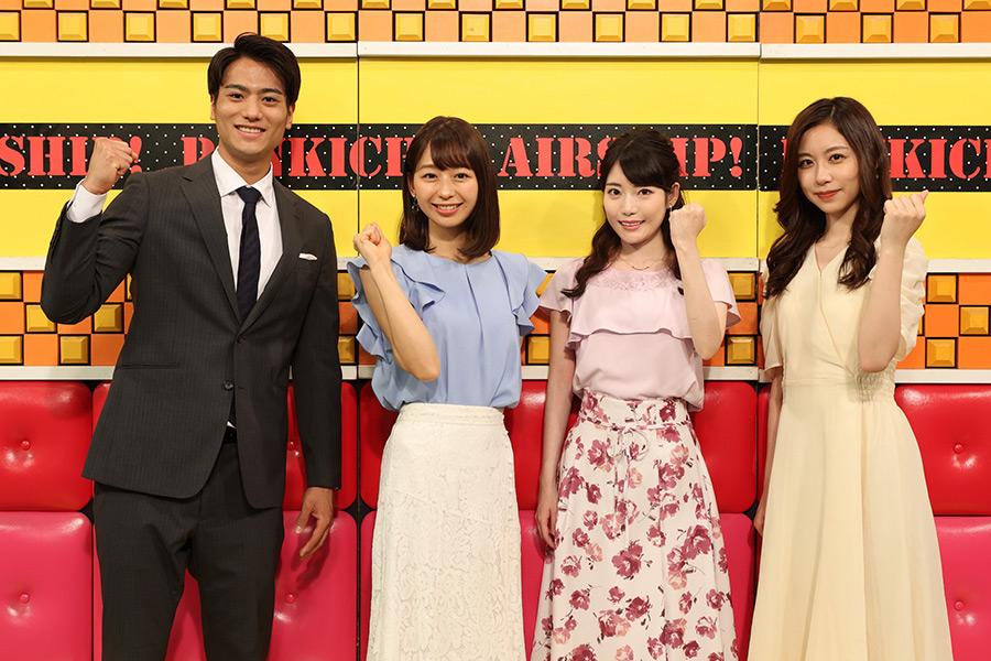 フジテレビアナウンサーの(左から)山本賢太、小室瑛莉子、竹俣紅、小山内鈴奈【写真:(C)フジテレビ】