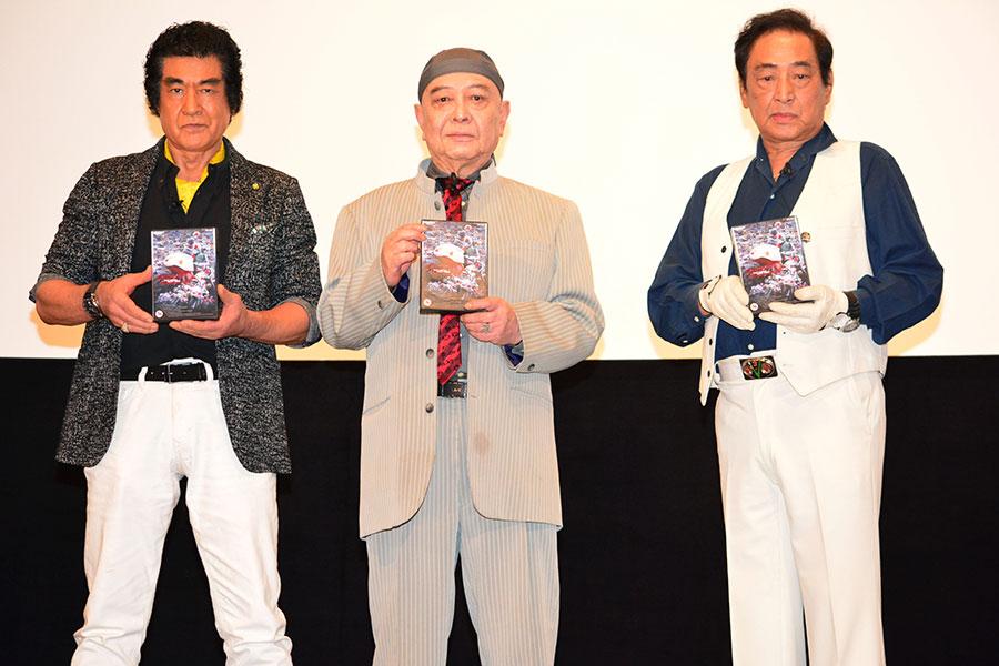 トークショーに登場した(左から)藤岡弘、、佐々木剛、宮内洋【写真:ENCOUNT編集部】