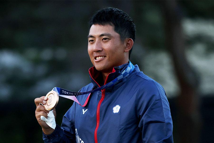 東京五輪・ゴルフ男子個人ストロークプレーで銅メダルを獲得した潘政琮(ハン・セイソウ)【写真:Getty Images】