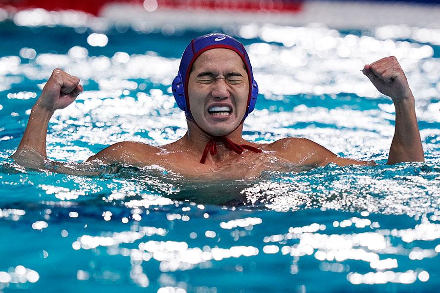 東京五輪・男子水球日本代表の荒井陸【写真:AP】