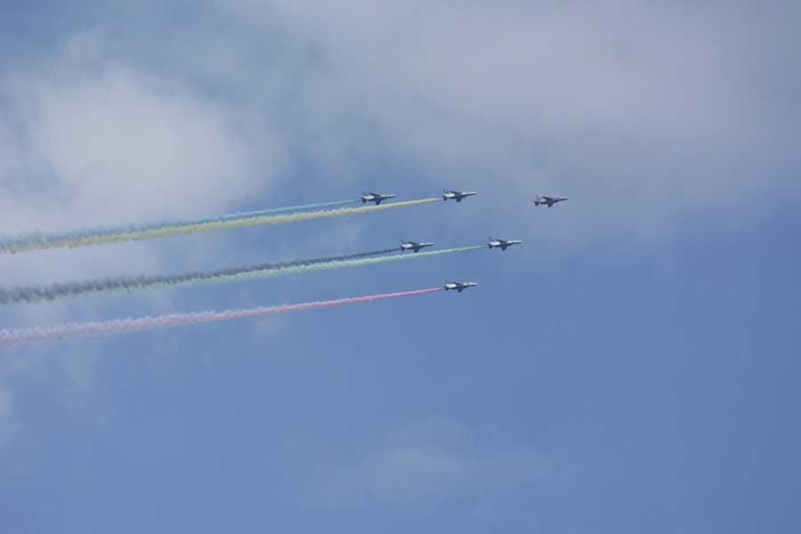 7月の東京五輪で飛行したブルーインパルス【写真:ENCOUNT編集部】