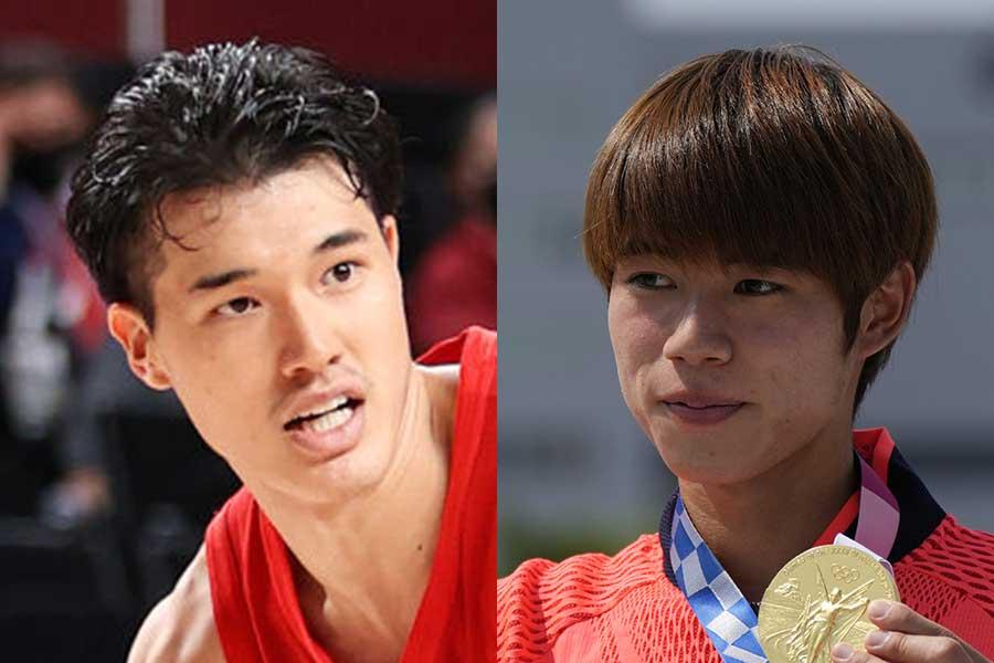 渡邊雄太(左)と堀米雄斗【写真:Getty Images、AP】
