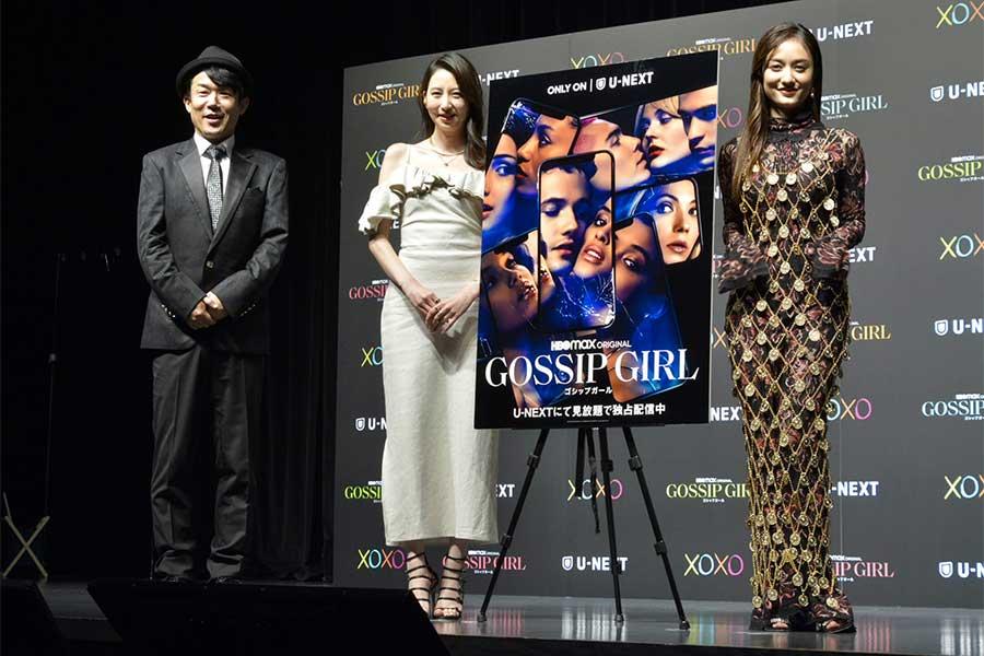 「ゴシップガール」配信記念イベントに登場した(左から)ヒデ、河北麻友子、谷まりあ【写真:ENCOUNT編集部】