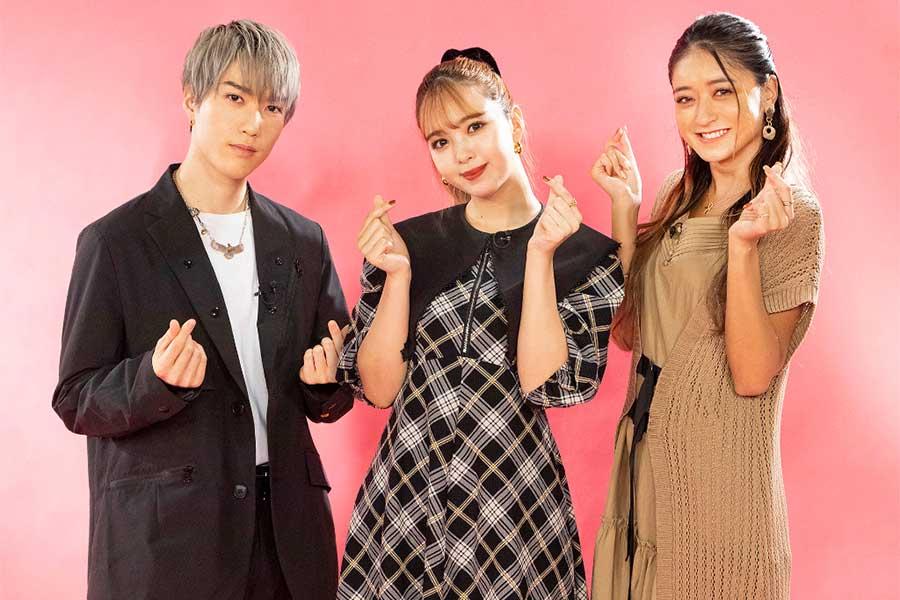 MCを務める藤原樹、藤田ニコル、池田美優(左から)【写真:(C)TBS】