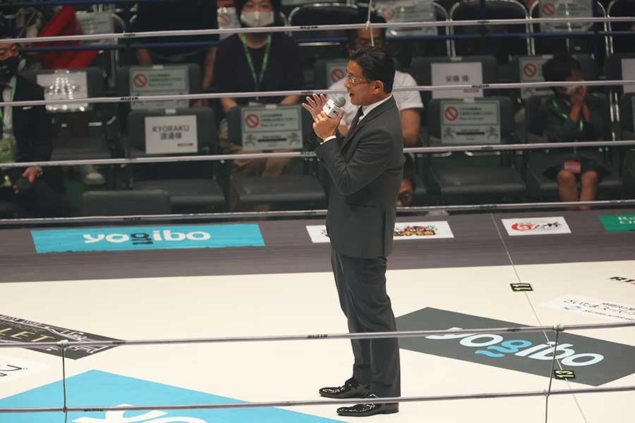 RIZIN榊原信行CEO、観客にマナー遵守の徹底訴える【写真:山口比佐夫】