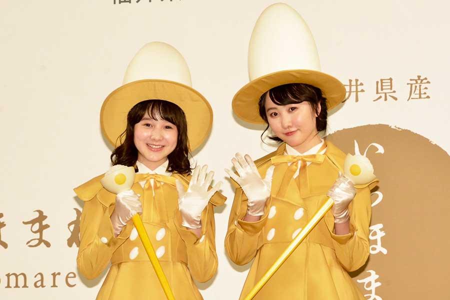 「いちほまれ」新CM発表会に登場した本田紗来(左)と本田望結【写真:ENCOUNT編集部】