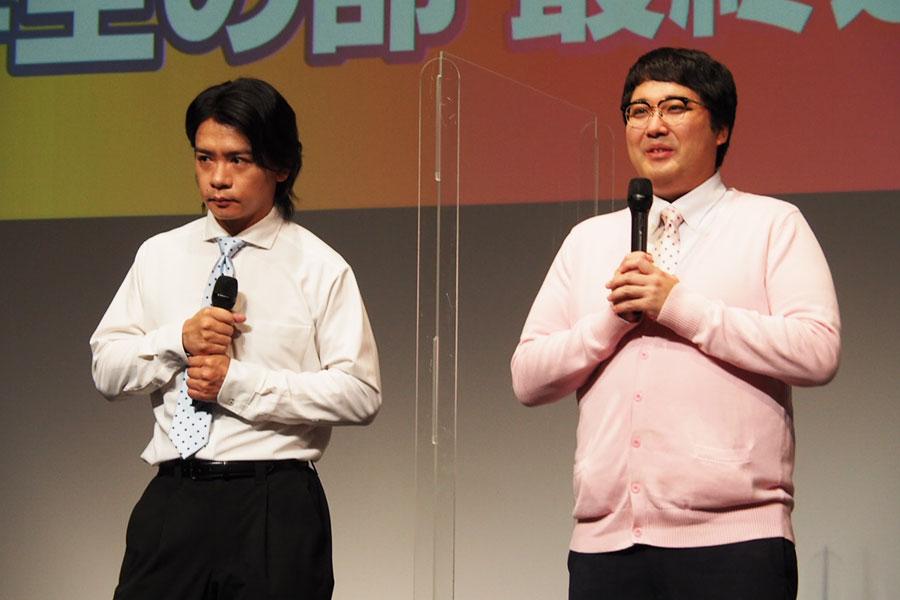 「マヂカルラブリー」野田クリスタル(左)と村上は小学生が考えた夢のおもちゃを審査した【写真:ENCOUNT編集部】