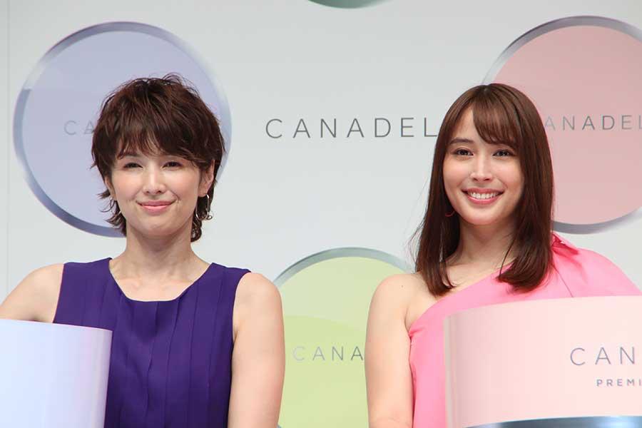 CANADELイメージキャラクターに就任した吉瀬美智子(左)と広瀬アリス【写真:ENCOUNT編集部】